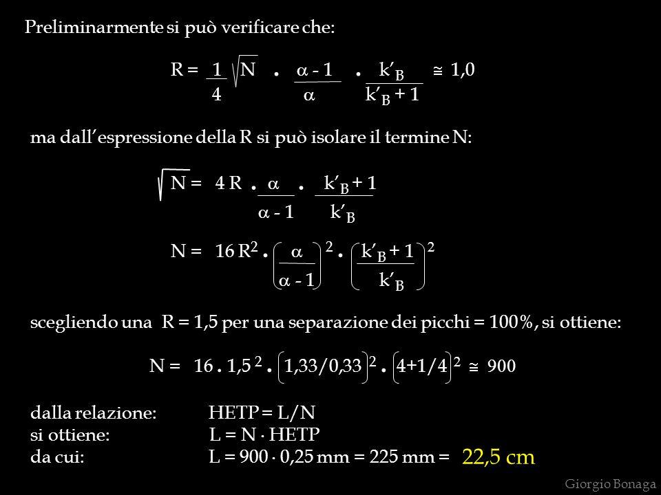 Preliminarmente si può verificare che: R = 1 N.  - 1. k' B  1,0 4  k' B + 1 ma dall'espressione della R si può isolare il termine N: N = 4 R. . k