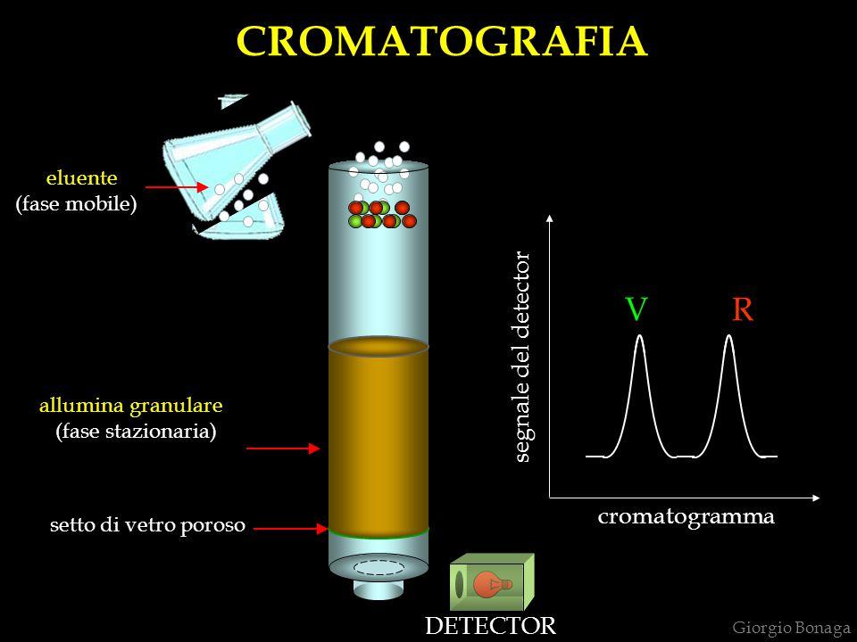 CROMATOGRAFIA setto di vetro poroso allumina granulare (fase stazionaria) eluente (fase mobile) DETECTOR V R segnale del detector cromatogramma Giorgi
