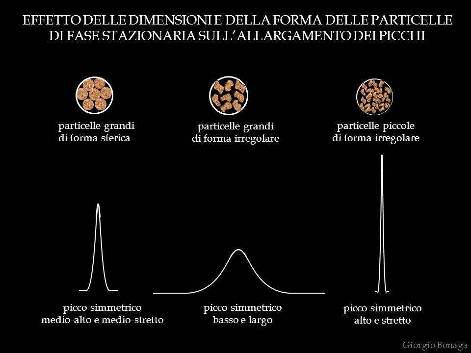 EFFETTO DELLE DIMENSIONI E DELLA FORMA DELLE PARTICELLE DI FASE STAZIONARIA SULL'ALLARGAMENTO DEI PICCHI particelle grandi di forma sferica particelle