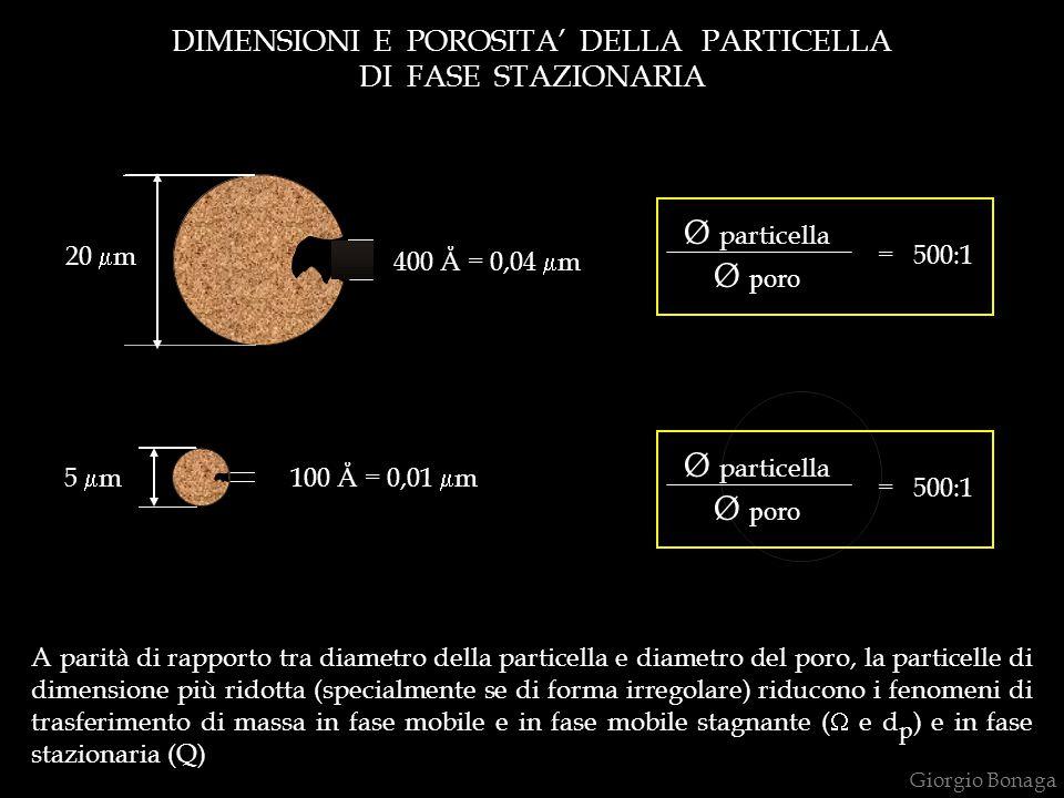 DIMENSIONI E POROSITA' DELLA PARTICELLA DI FASE STAZIONARIA 20  m Ø particella Ø poro = 500:1 100 Å = 0,01  m5  m Ø particella Ø poro = 500:1 400 Å