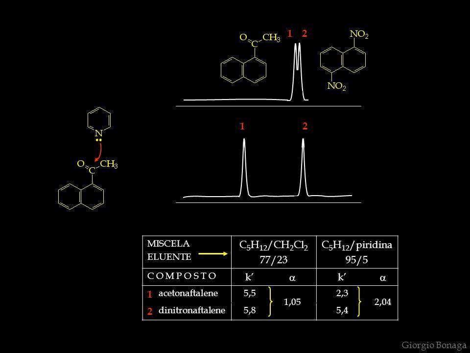 MISCELA ELUENTE C 5 H 12 /CH 2 Cl 2 77/23 C 5 H 12 /piridina 95/5 C O M P O S T O k'   1 acetonaftalene5,5 1,05 2,3 2,04 2 dinitronaftalene5,85,4..