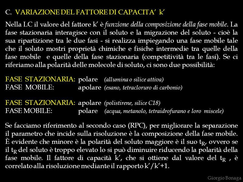 C. VARIAZIONE DEL FATTORE DI CAPACITA' k' Nella LC il valore del fattore k' è funzione della composizione della fase mobile. La fase stazionaria inter