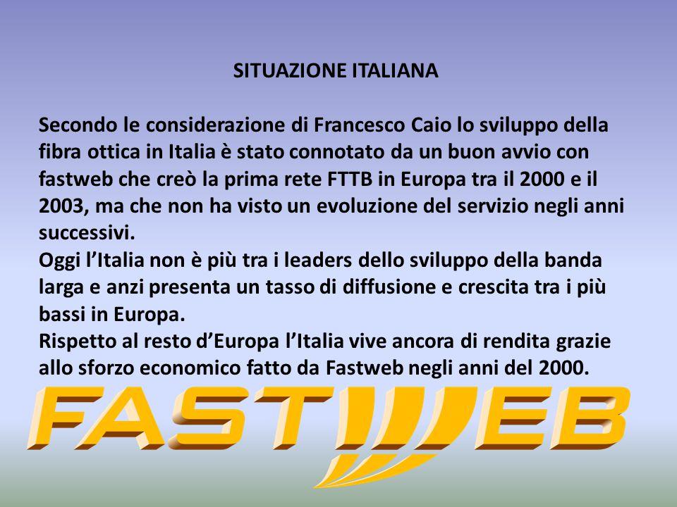 SITUAZIONE ITALIANA Secondo le considerazione di Francesco Caio lo sviluppo della fibra ottica in Italia è stato connotato da un buon avvio con fastwe