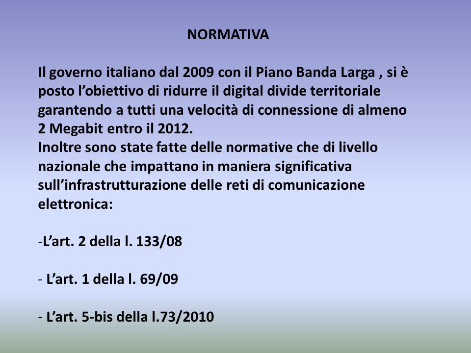 NORMATIVA Il governo italiano dal 2009 con il Piano Banda Larga, si è posto l'obiettivo di ridurre il digital divide territoriale garantendo a tutti u