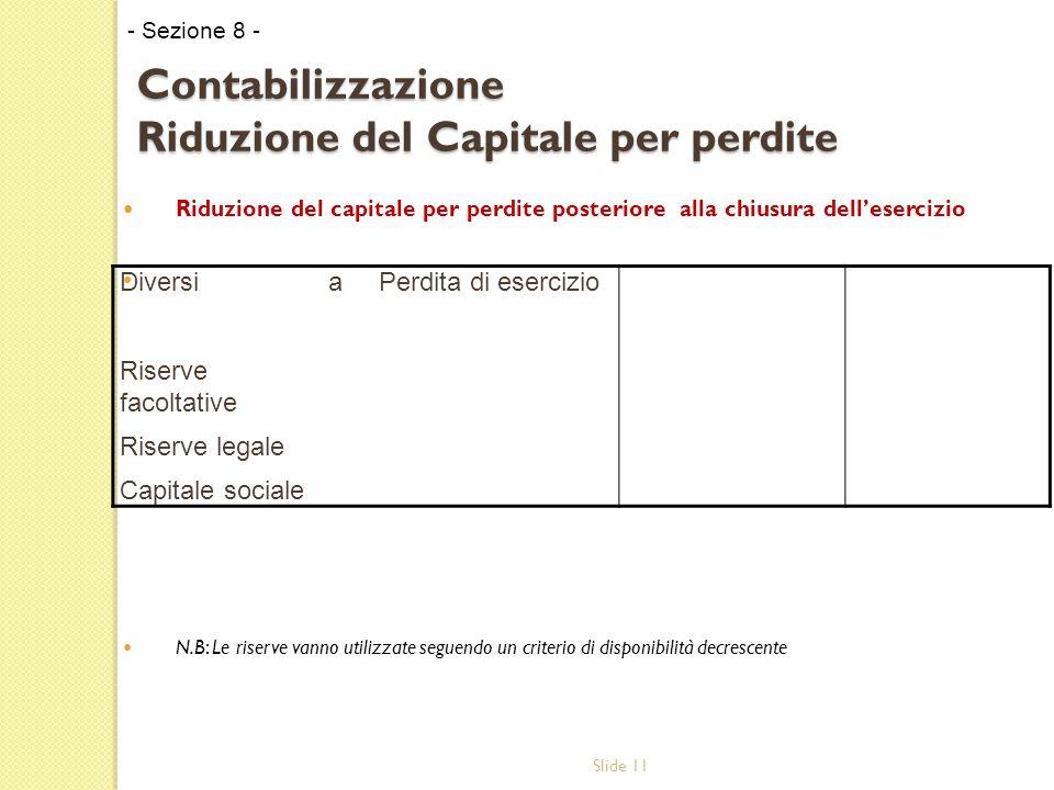 Slide 11 Contabilizzazione Riduzione del Capitale per perdite Riduzione del capitale per perdite posteriore alla chiusura dell'esercizio N.B: Le riserve vanno utilizzate seguendo un criterio di disponibilità decrescente - Sezione 8 - Diversi Riserve facoltative Riserve legale Capitale sociale aPerdita di esercizio
