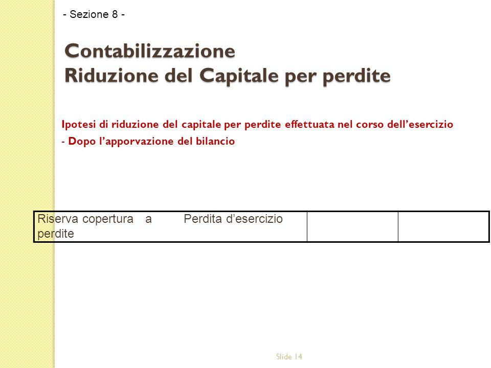 Slide 14 Contabilizzazione Riduzione del Capitale per perdite Ipotesi di riduzione del capitale per perdite effettuata nel corso dell'esercizio - Dopo l'apporvazione del bilancio - Sezione 8 - Riserva copertura perdite aPerdita d'esercizio