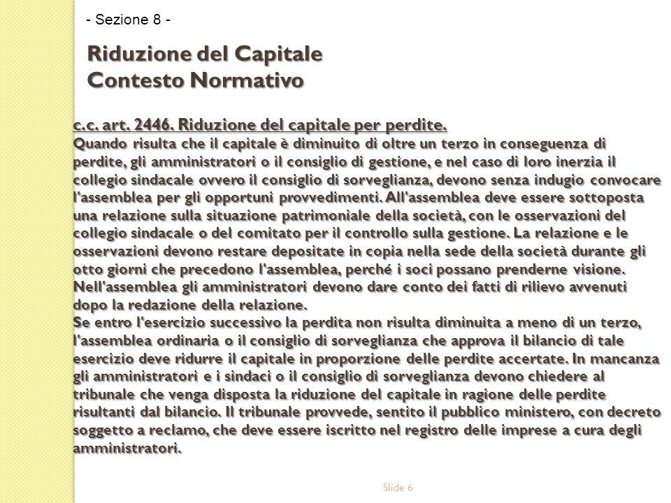 Slide 6 c.c. art. 2446. Riduzione del capitale per perdite.