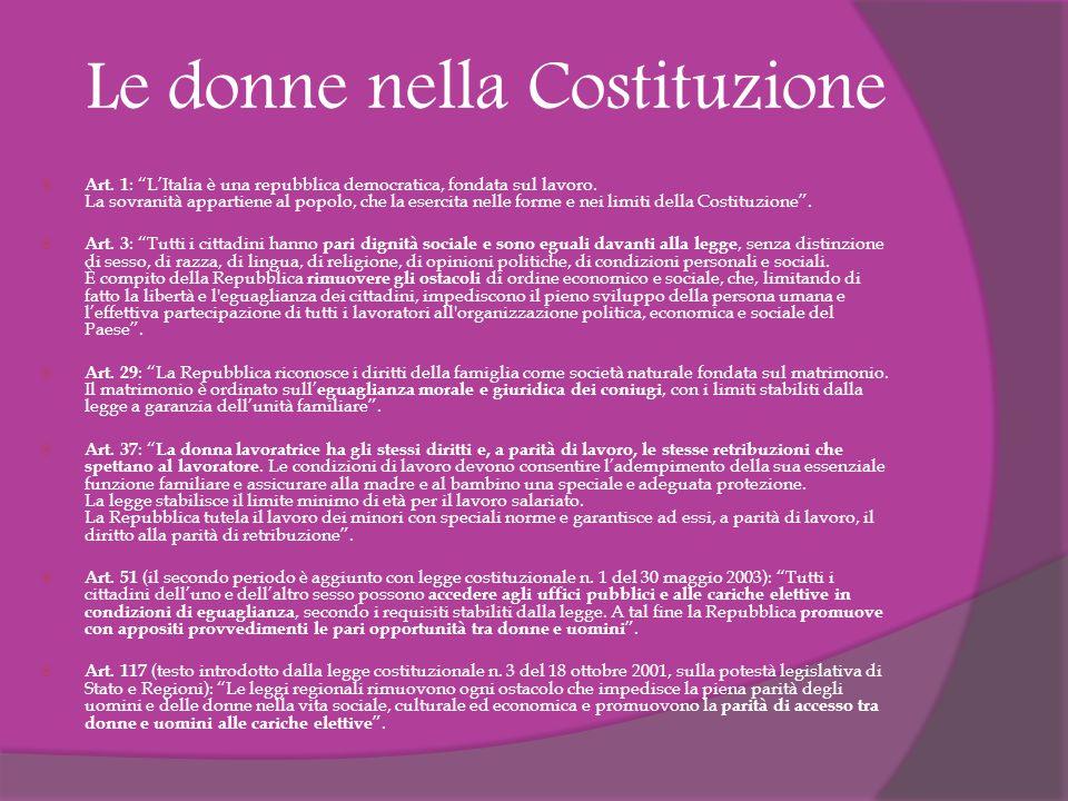 Le donne nella Costituzione  Art.1 : L'Italia è una repubblica democratica, fondata sul lavoro.