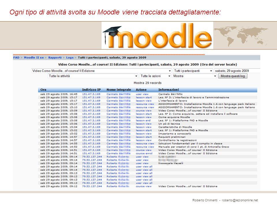 Ogni tipo di attività svolta su Moodle viene tracciata dettagliatamente: Roberto Chimenti - roberto@lezionionline.net