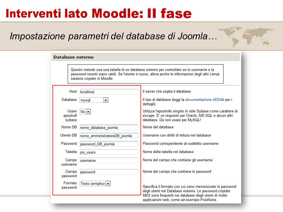 Impostazione parametri del database di Joomla…