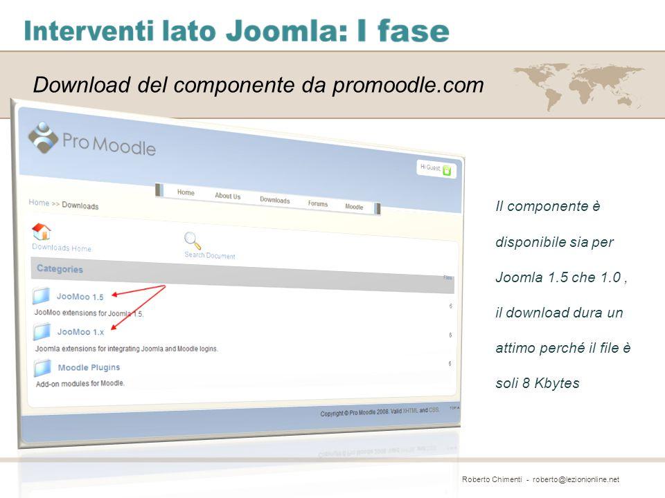 Download del componente da promoodle.com Il componente è disponibile sia per Joomla 1.5 che 1.0, il download dura un attimo perché il file è soli 8 Kb