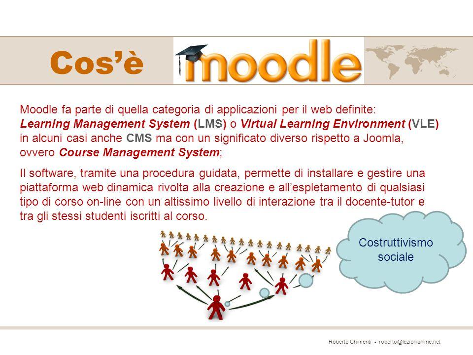 Moodle ha una struttura completamente modulare in grado di implementare facilmente un alto numero di funzionalità aggiuntive che si vanno a sommare a quelle già potenti possedute dal software di base e che possono essere usate facilmente all'interno dei corsi svolti sulla piattaforma.