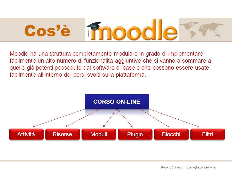 Moodle ha una struttura completamente modulare in grado di implementare facilmente un alto numero di funzionalità aggiuntive che si vanno a sommare a