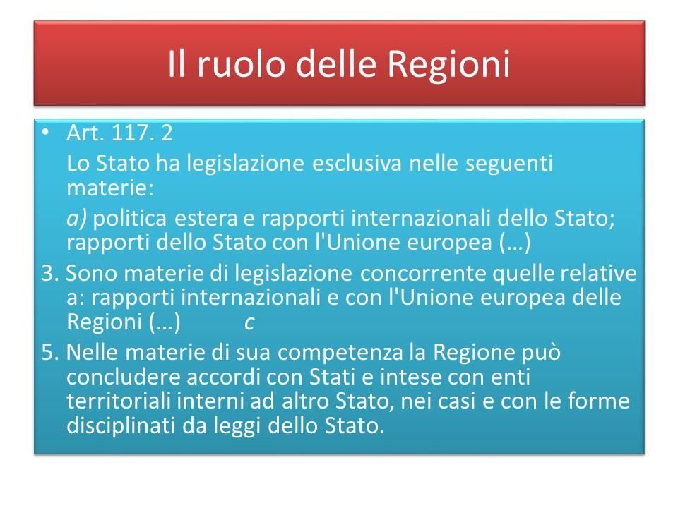 Il ruolo delle Regioni Art. 117. 2 Lo Stato ha legislazione esclusiva nelle seguenti materie: a) politica estera e rapporti internazionali dello Stato