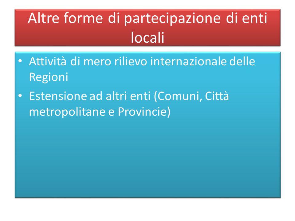 Altre forme di partecipazione di enti locali Attività di mero rilievo internazionale delle Regioni Estensione ad altri enti (Comuni, Città metropolita