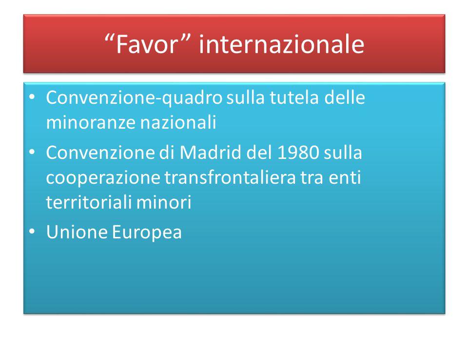 """""""Favor"""" internazionale Convenzione-quadro sulla tutela delle minoranze nazionali Convenzione di Madrid del 1980 sulla cooperazione transfrontaliera tr"""