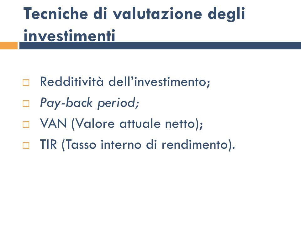 Redditività dell'investimento Questa tecnica valuta la convenienza dell'investimento sulla base della redditività complessiva o annua Indice di redditività = Reddito complessivo / Totale esborsi Tasso medio annuale = Incasso medio annuo / Totale esborsi Incasso medio annuale = Totale incassi / Numero anni presi a riferimento