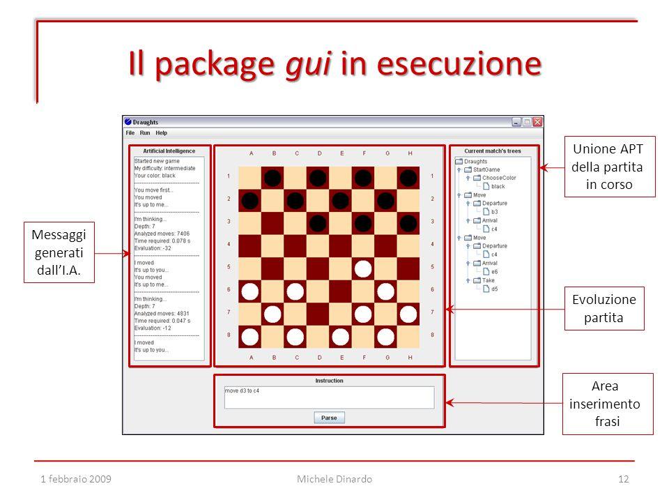 Il package gui in esecuzione 1 febbraio 2009Michele Dinardo12 Area inserimento frasi Unione APT della partita in corso Messaggi generati dall'I.A.