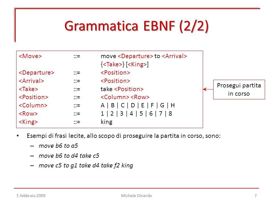 1 febbraio 2009Michele Dinardo7 Grammatica EBNF (2/2) 1 febbraio 2009Michele Dinardo7 ::=move to { } [ ] ::= ::= take ::= ::=A | B | C | D | E | F | G | H ::=1 | 2 | 3 | 4 | 5 | 6 | 7 | 8 ::=king Prosegui partita in corso Esempi di frasi lecite, allo scopo di proseguire la partita in corso, sono: – move b6 to a5 – move b6 to d4 take c5 – move c5 to g1 take d4 take f2 king