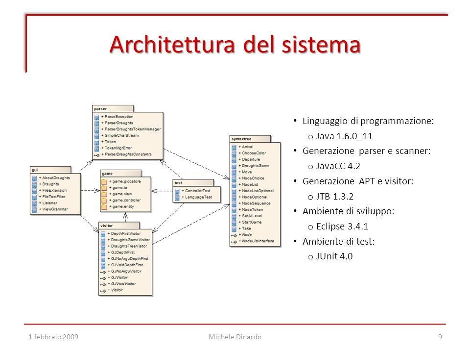 Architettura del sistema 1 febbraio 2009Michele Dinardo9 Linguaggio di programmazione: o Java 1.6.0_11 Generazione parser e scanner: o JavaCC 4.2 Generazione APT e visitor: o JTB 1.3.2 Ambiente di sviluppo: o Eclipse 3.4.1 Ambiente di test: o JUnit 4.0