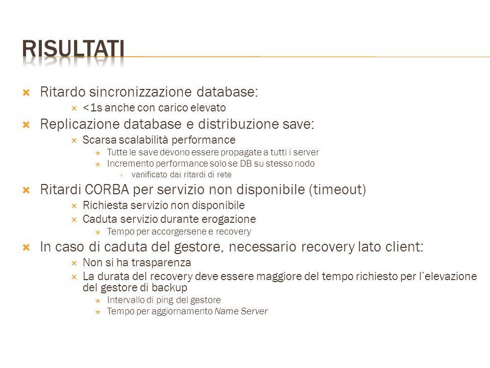  Ritardo sincronizzazione database:  <1s anche con carico elevato  Replicazione database e distribuzione save:  Scarsa scalabilità performance  T