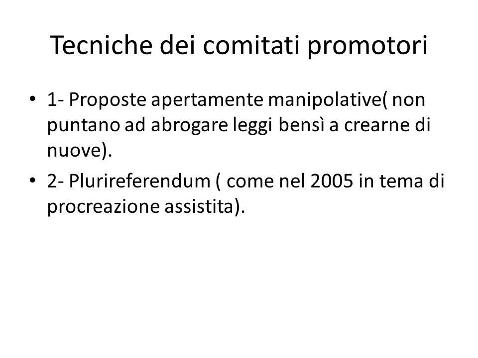 Tecniche dei comitati promotori 1- Proposte apertamente manipolative( non puntano ad abrogare leggi bensì a crearne di nuove).