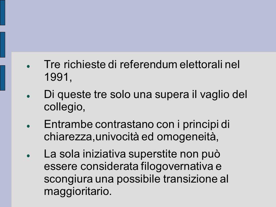 Tre richieste di referendum elettorali nel 1991, Di queste tre solo una supera il vaglio del collegio, Entrambe contrastano con i principi di chiarezza,univocità ed omogeneità, La sola iniziativa superstite non può essere considerata filogovernativa e scongiura una possibile transizione al maggioritario.