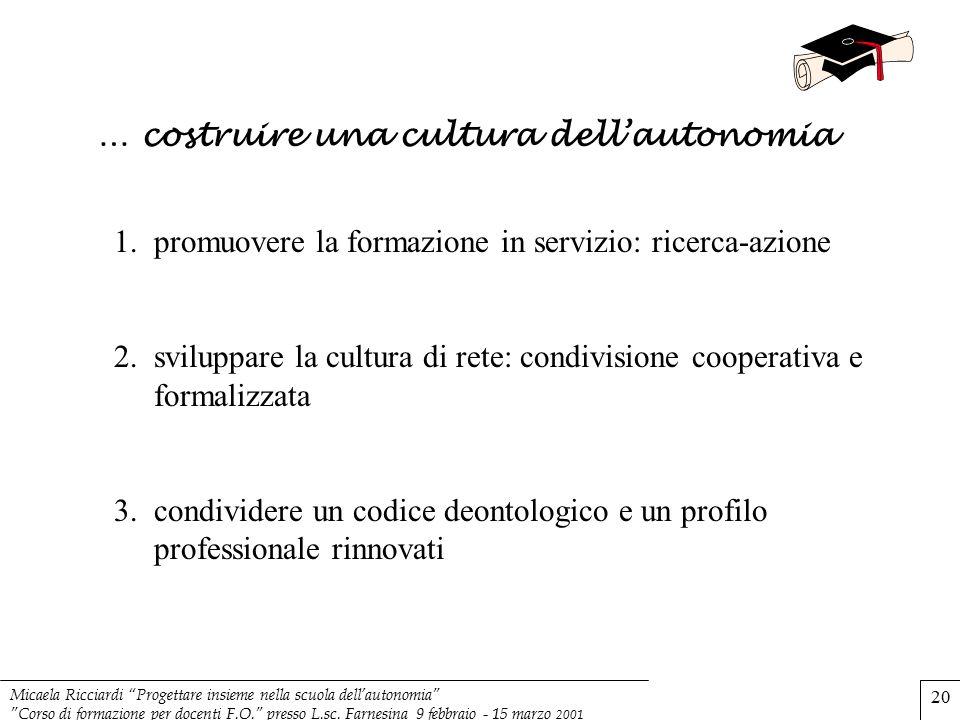 """Micaela Ricciardi """"Progettare insieme nella scuola dell'autonomia"""" """"Corso di formazione per docenti F.O."""" presso L.sc. Farnesina 9 febbraio - 15 marzo"""
