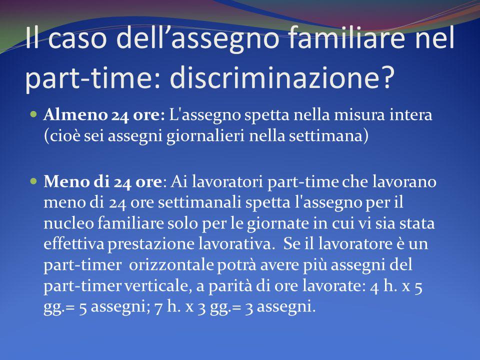 Il caso dell'assegno familiare nel part-time: discriminazione.