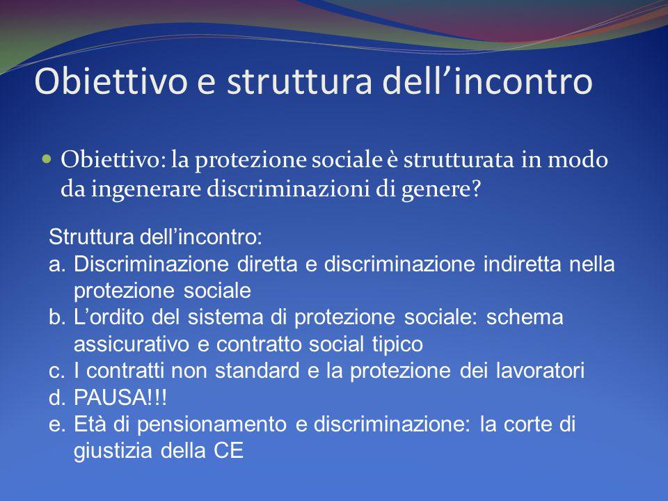 Obiettivo e struttura dell'incontro Obiettivo: la protezione sociale è strutturata in modo da ingenerare discriminazioni di genere.