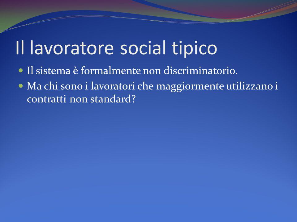 Il lavoratore social tipico Il sistema è formalmente non discriminatorio.