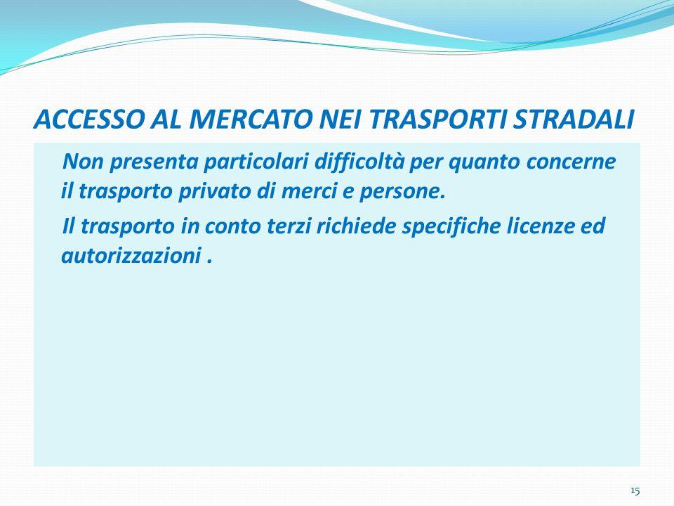 ACCESSO AL MERCATO NEI TRASPORTI STRADALI Non presenta particolari difficoltà per quanto concerne il trasporto privato di merci e persone.