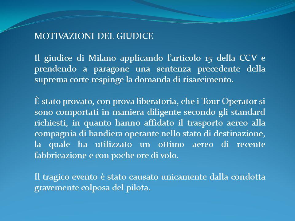 MOTIVAZIONI DEL GIUDICE Il giudice di Milano applicando l'articolo 15 della CCV e prendendo a paragone una sentenza precedente della suprema corte respinge la domanda di risarcimento.
