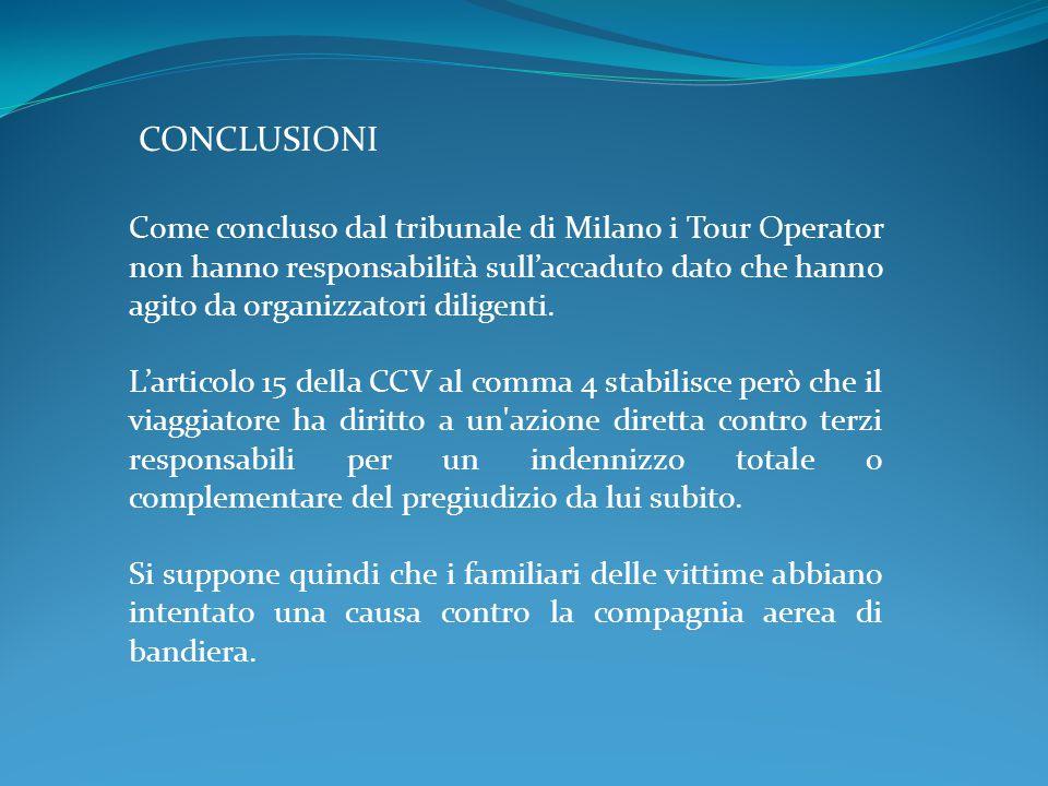 CONCLUSIONI Come concluso dal tribunale di Milano i Tour Operator non hanno responsabilità sull'accaduto dato che hanno agito da organizzatori diligenti.