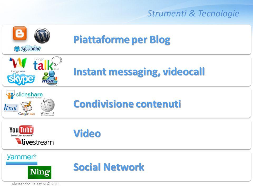 Strumenti & Tecnologie Piattaforme per Blog Instant messaging, videocall Condivisione contenuti Video Social Network Alessandro Palestini © 2011