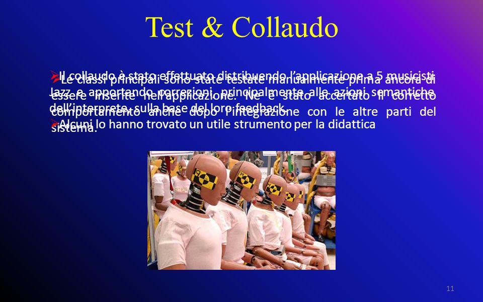 Test & Collaudo 11  Le classi principali sono state testate manualmente prima ancora di essere inserite nell'applicazione.