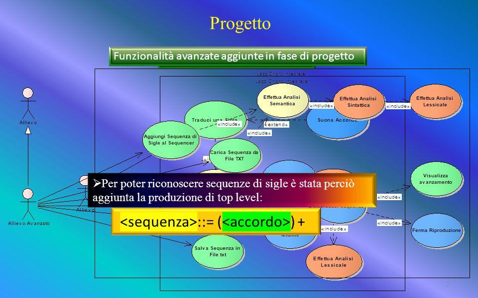 Progetto Funzionalità previste in analisi Funzionalità avanzate aggiunte in fase di progetto  Per poter riconoscere sequenze di sigle è stata perciò aggiunta la produzione di top level: ::= ( ) + 7