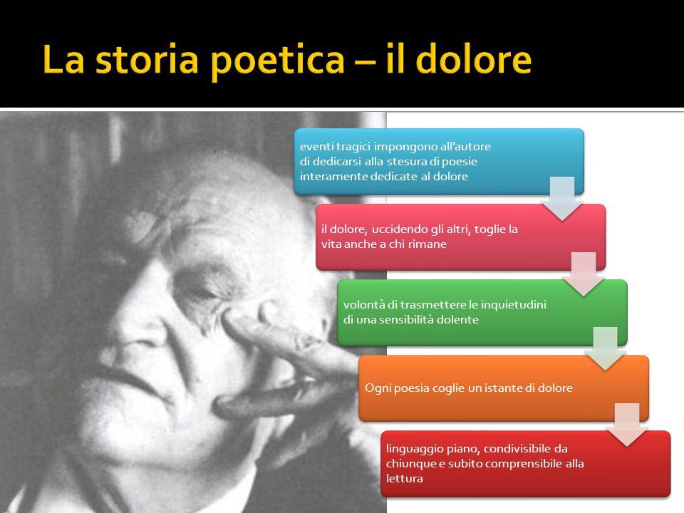 eventi tragici impongono all'autore di dedicarsi alla stesura di poesie interamente dedicate al dolore il dolore, uccidendo gli altri, toglie la vita