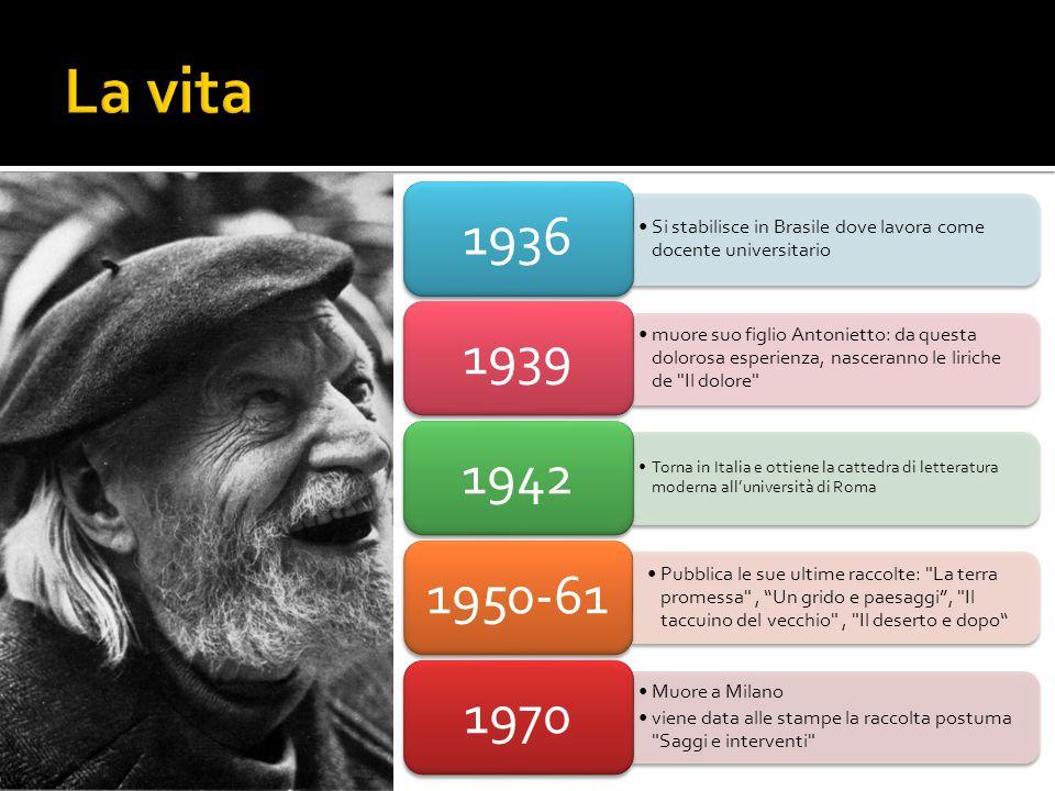 Si stabilisce in Brasile dove lavora come docente universitario 1936 muore suo figlio Antonietto: da questa dolorosa esperienza, nasceranno le liriche