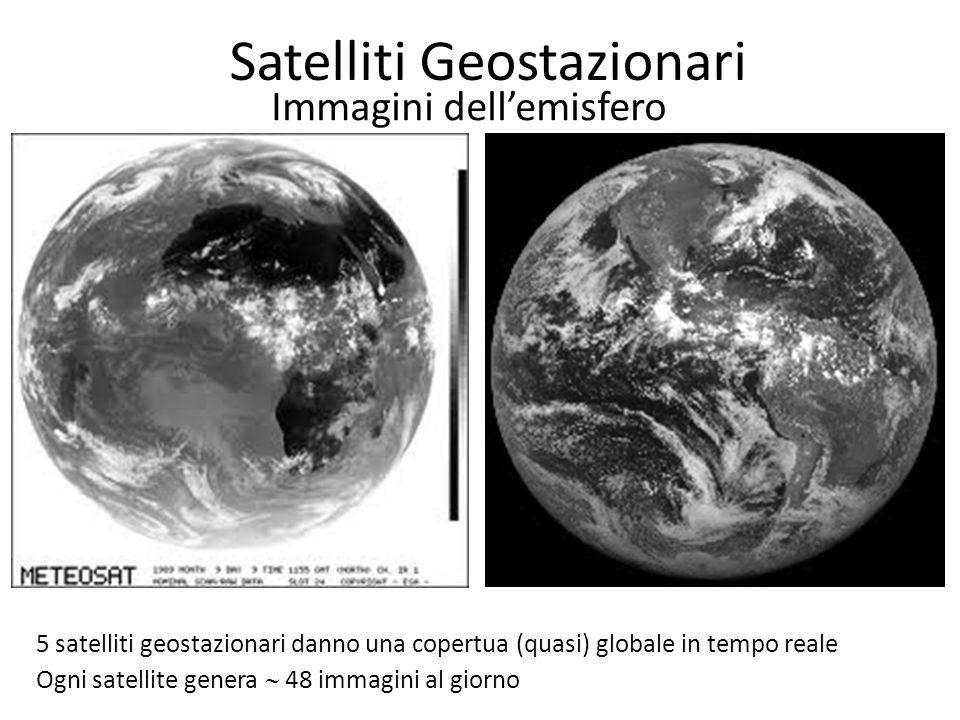 Satelliti Geostazionari Immagini dell'emisfero 5 satelliti geostazionari danno una copertua (quasi) globale in tempo reale Ogni satellite genera  48 immagini al giorno