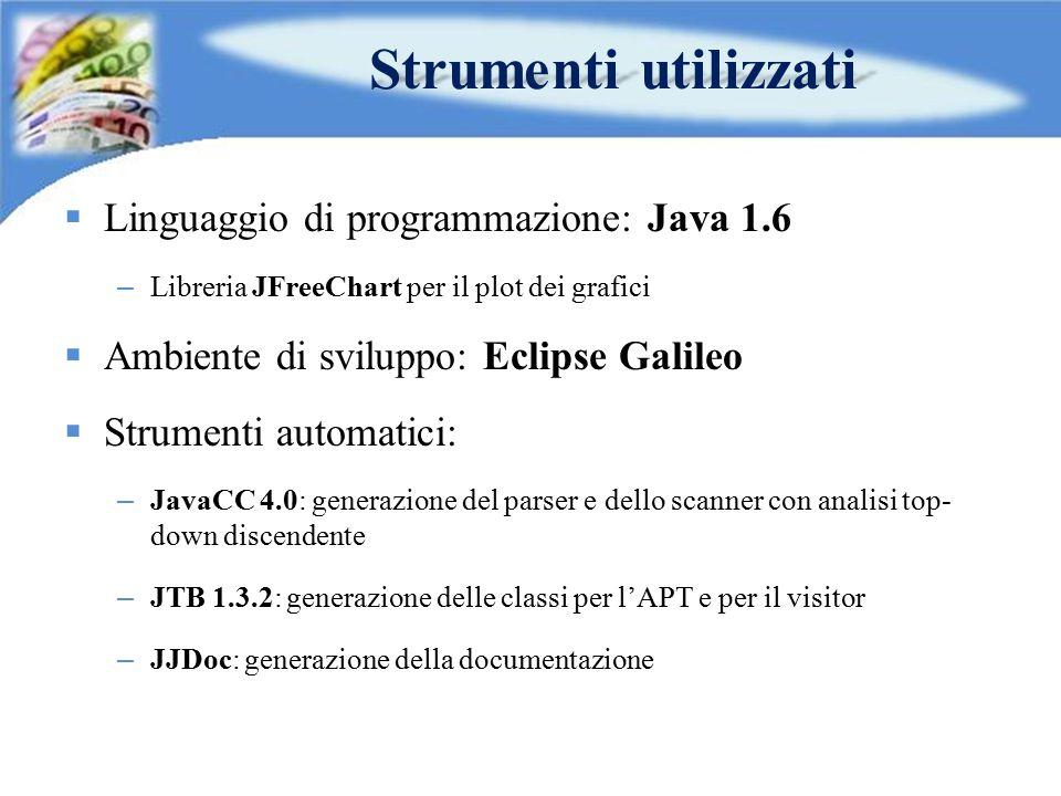  Linguaggio di programmazione: Java 1.6 – Libreria JFreeChart per il plot dei grafici  Ambiente di sviluppo: Eclipse Galileo  Strumenti automatici: – JavaCC 4.0: generazione del parser e dello scanner con analisi top- down discendente – JTB 1.3.2: generazione delle classi per l'APT e per il visitor – JJDoc: generazione della documentazione Strumenti utilizzati
