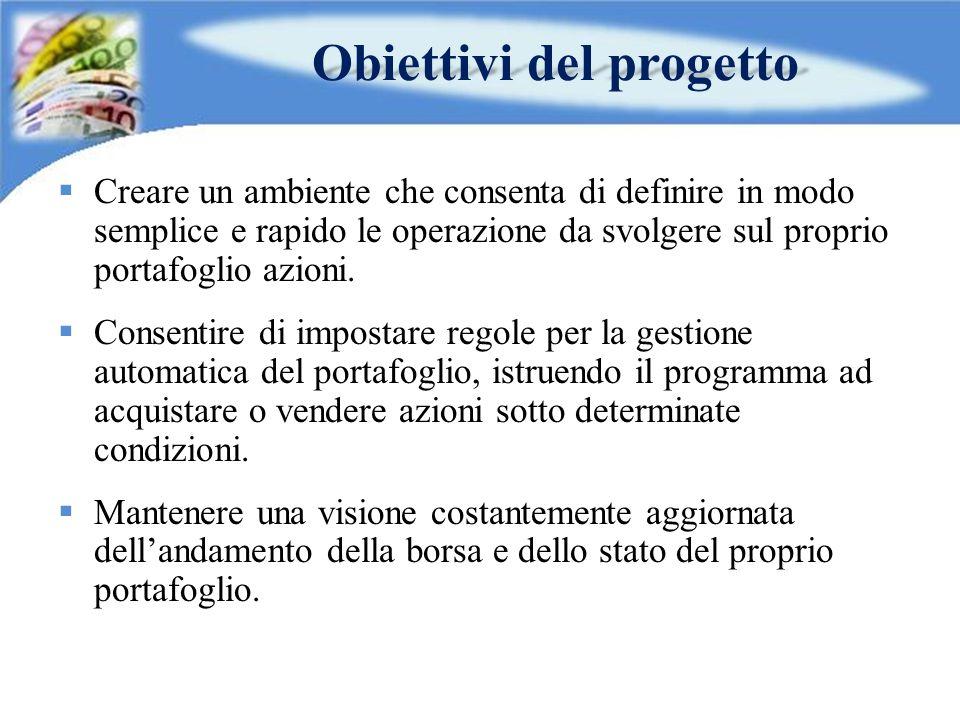 Obiettivi del progetto  Creare un ambiente che consenta di definire in modo semplice e rapido le operazione da svolgere sul proprio portafoglio azion
