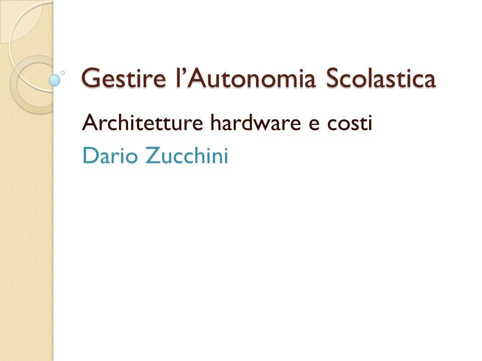 Gestire l'Autonomia Scolastica Architetture hardware e costi Dario Zucchini