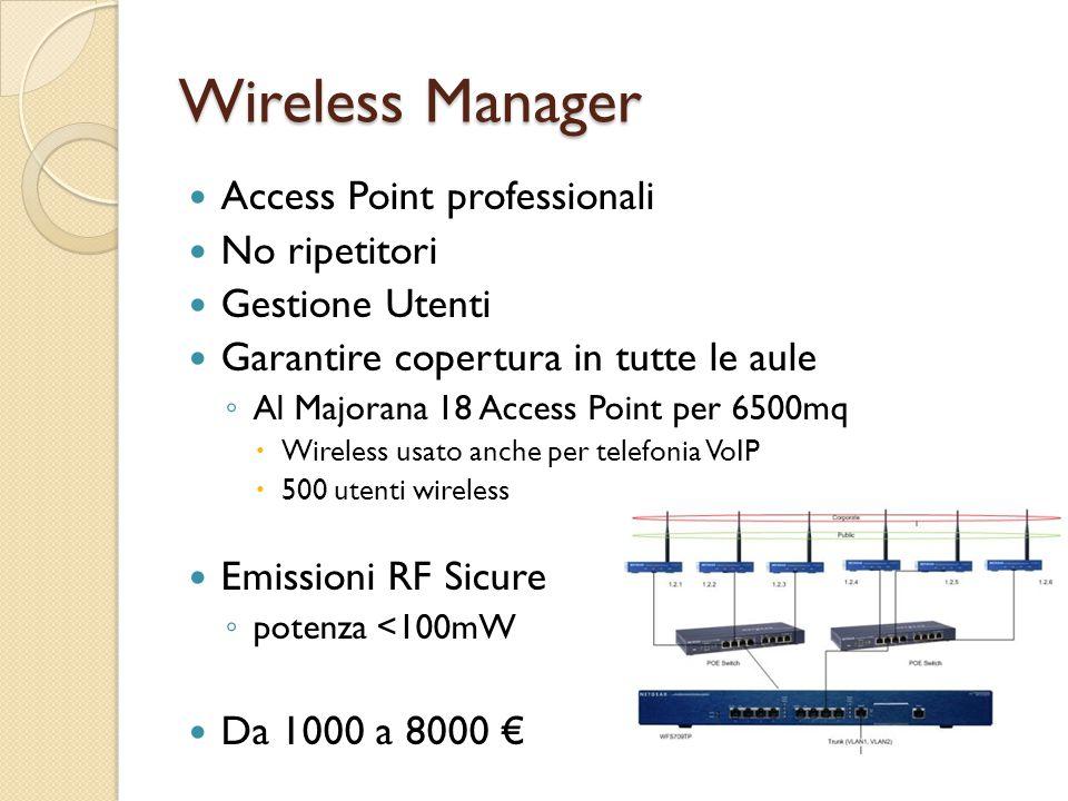 Wireless Manager Access Point professionali No ripetitori Gestione Utenti Garantire copertura in tutte le aule ◦ Al Majorana 18 Access Point per 6500mq  Wireless usato anche per telefonia VoIP  500 utenti wireless Emissioni RF Sicure ◦ potenza <100mW Da 1000 a 8000 €
