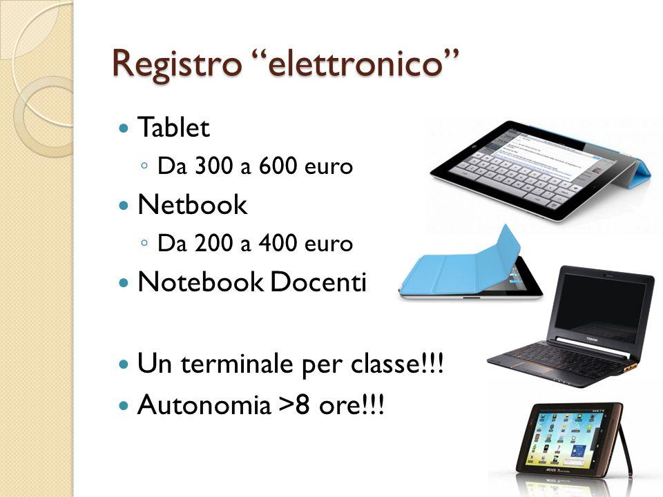 Registro elettronico Tablet ◦ Da 300 a 600 euro Netbook ◦ Da 200 a 400 euro Notebook Docenti Un terminale per classe!!.