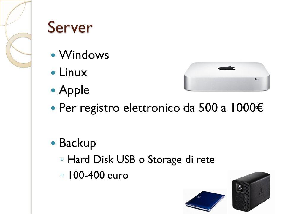 Server Windows Linux Apple Per registro elettronico da 500 a 1000€ Backup ◦ Hard Disk USB o Storage di rete ◦ 100-400 euro