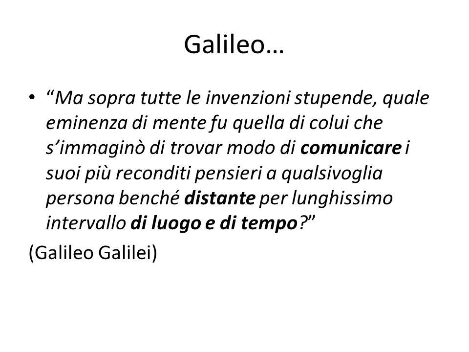 Galileo… Ma sopra tutte le invenzioni stupende, quale eminenza di mente fu quella di colui che s'immaginò di trovar modo di comunicare i suoi più reconditi pensieri a qualsivoglia persona benché distante per lunghissimo intervallo di luogo e di tempo? (Galileo Galilei)