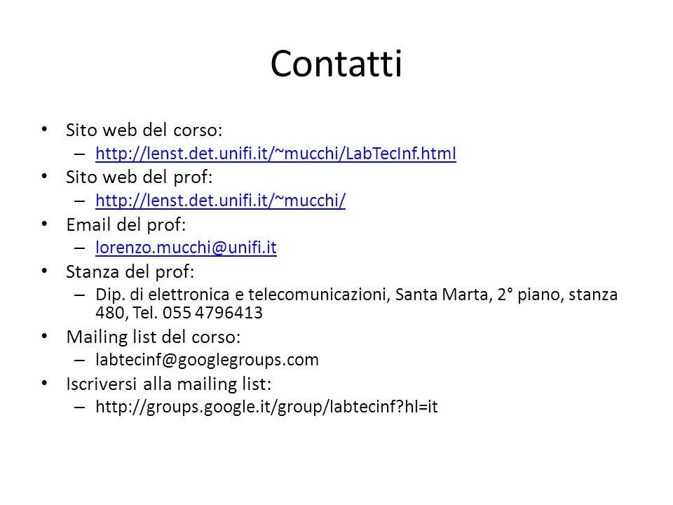 Contatti Sito web del corso: – http://lenst.det.unifi.it/~mucchi/LabTecInf.html http://lenst.det.unifi.it/~mucchi/LabTecInf.html Sito web del prof: – http://lenst.det.unifi.it/~mucchi/ http://lenst.det.unifi.it/~mucchi/ Email del prof: – lorenzo.mucchi@unifi.it lorenzo.mucchi@unifi.it Stanza del prof: – Dip.