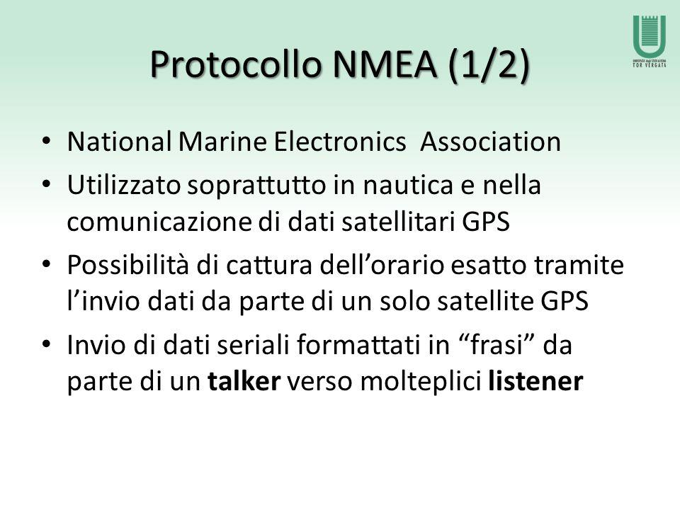 Protocollo NMEA (1/2) National Marine Electronics Association Utilizzato soprattutto in nautica e nella comunicazione di dati satellitari GPS Possibilità di cattura dell'orario esatto tramite l'invio dati da parte di un solo satellite GPS Invio di dati seriali formattati in frasi da parte di un talker verso molteplici listener