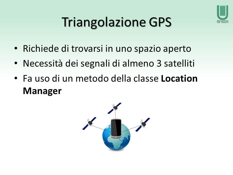 Triangolazione GPS Richiede di trovarsi in uno spazio aperto Necessità dei segnali di almeno 3 satelliti Fa uso di un metodo della classe Location Manager